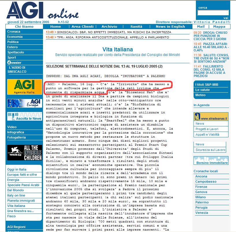 1 agenzia giornalistica italia 16 luglio 2005 for Software progettazione impianti irrigazione gratis