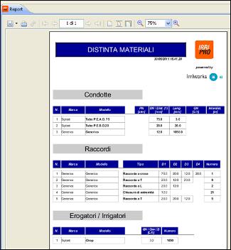 Database progettazione impianti irrigazione software for Calcolo impianto irrigazione